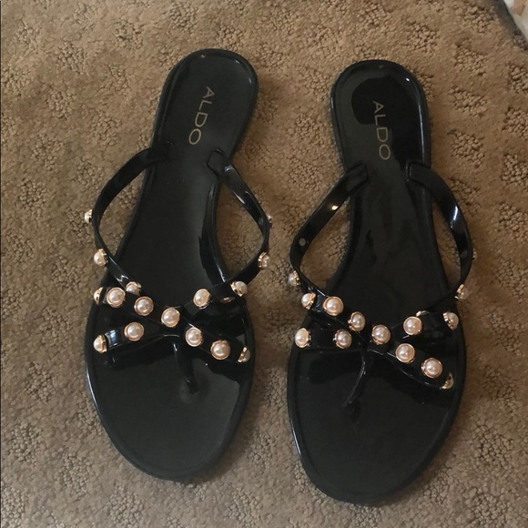 31698ea3bc2 Aldo Shoes | Black Pearl Bow Sandals | Poshmark